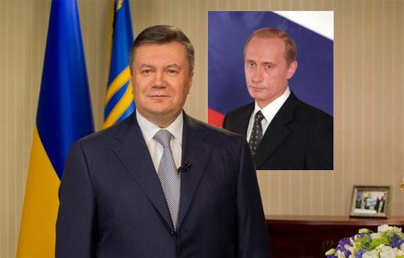Віктор Янукович на фоні Володимира Путіна